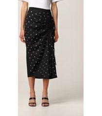 n.21 n° 21 skirt n°21 midi skirt in cotton with all-over rhinestones