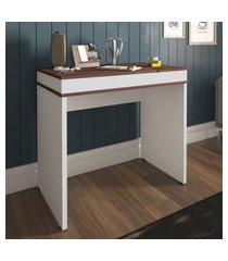 mesa escrivaninha artany mind home office ipê e branca