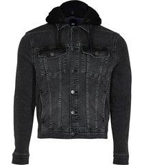 river island mens black hooded muscle fit denim jacket