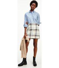 tommy hilfiger women's wool check mini skirt zoe check beige - 10