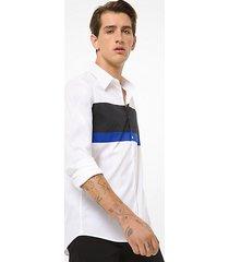 mk camicia slim-fit in cotone stretch color block - bianco (bianco) - michael kors