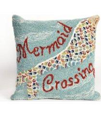 "liora manne frontporch mermaid crossing indoor, outdoor pillow - 18"" square"