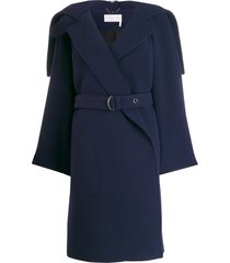 chloé wrap-front belted coat - blue