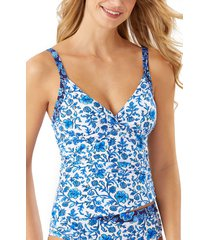 women's tommy bahama woodblock twist underwire tankini top