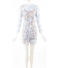 self portrait blue guipure lace sheer long sleeve mini dress blue/multicolor sz: s