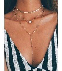 gold rhinestone pearl pendant muti-layer beaded necklace