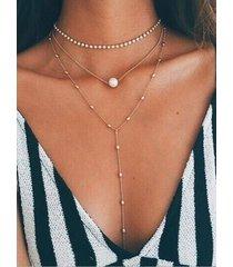 collar de cuentas de múltiples capas con colgante de perlas de diamantes de imitación de oro