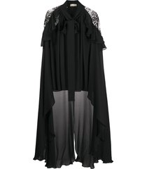 elie saab high-low cape-style blouse - black