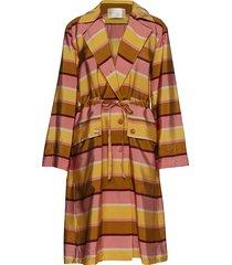 gloria, 530 striped acetate dunne lange jas multi/patroon stine goya