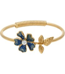 2028 women's gold tone blue enamel flower and crystal accent spring hinge cuff bracelet