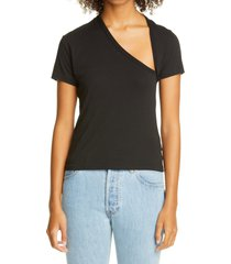 women's john elliott asymmetrical neck supima cotton t-shirt, size 3 - black