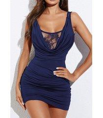 yoins azul marino encaje insertar drapeado sin mangas vestido