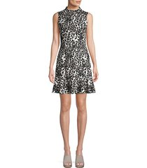 animal-print mockneck a-line dress
