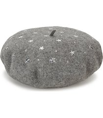 star-print wool felt beret