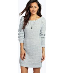 slash neck marl knit sweater dress, silver
