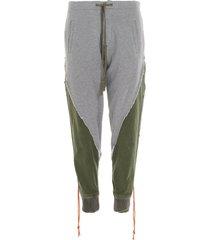 greg lauren fleece/tent 50/50 stacked lounge pants