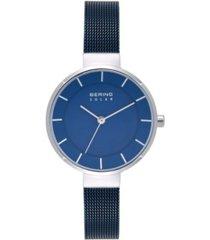 bering women's solar powered blue stainless steel mesh bracelet watch 31mm