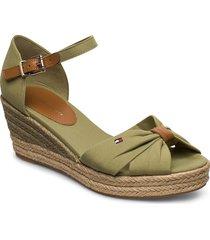 basic open toe mid wedge sandalette med klack espadrilles grön tommy hilfiger