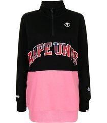aape by *a bathing ape® slogan-print zip-up sweatshirt - black