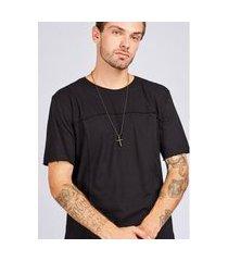 camiseta manga curta com recortes preta gang masculina