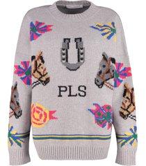 philosophy di lorenzo serafini contrasting intarsia virgin wool sweater