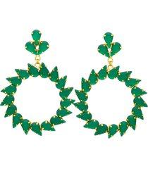 brinco maxi argola de gotas esmeraldas em movimento banhado a ouro 18k - verde - feminino - dafiti