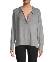 rd style women's collared sweater - grey - size s