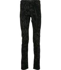 takahiromiyashita the soloist all-over print skinny trousers - black