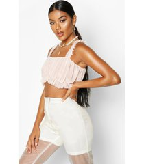 mesh ruched crop top, nude