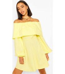 cotton bardot skater dress, yellow