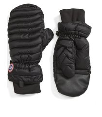 women's canada goose lightweight quilted mittens, size small - black