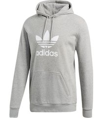 buzo gris  adidas originals trefoil hoodie