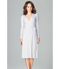 sukienka kopertowa z długim rękawem