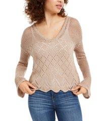 ultra flirt juniors' pointelle-knit pullover sweater