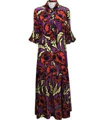 la doublej floral print maxi shirt dress - purple