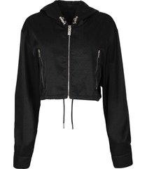 4g cropped windbreaker jacket black