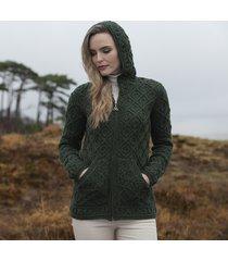 women's army green kinsale aran hoodie cardigan small