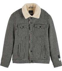 sherpa houndstooth combo jacket