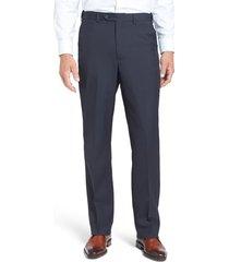 men's berle self sizer waist tropical weight flat front classic fit dress pants, size 35 x - blue