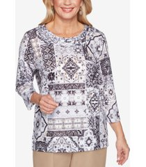 alfred dunner petite classics medallion patchwork top