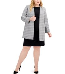 le suit plus size plaid tweed jacket dress suit