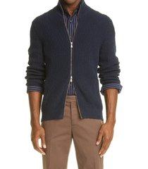 brunello cucinelli mock neck zip cardigan, size 52 eu in navy at nordstrom