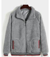 abrigo cálido de lana de cordero de invierno para hombre