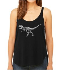 la pop art women's premium word art flowy tank top- dinosaur t-rex skeleton