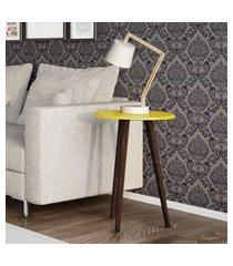mesa de apoio móveis bechara brilhante com pés palito amarela