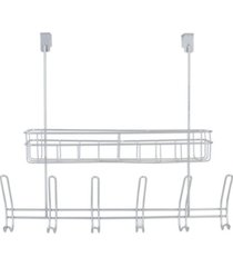 hds trading over the door powder coated steel 6 hook hanging rack with built-in basket