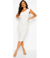 frill off the shoulder midi dress, ivory