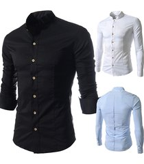 casual business fashion sottile camicia da uomo di design a manica lunga con colletto