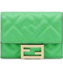 fendi micro tri-fold wallet - green