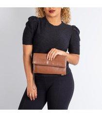 clutch de couro liso com alça de mão nikki - feminino